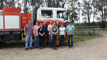 Attendees at the 2015 Community Training event (l to r): Tom, Melissa, Brigade member Dominique, Snr Deputy Captain Brett, Andrew, Narelle and Xaviour, Brigade member Frances, Clare, Brigade Captain Mark and Peter.